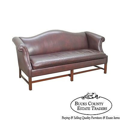 Hancock & Moore Mahogany Chippendale Style Leather Sofa