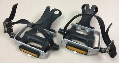 Wellgo LU961 Alloy Road Pedals Silver with Clips and Straps Pair 97.3 x 88.5mm