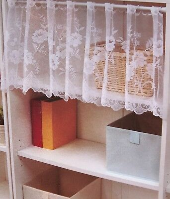 GOLD LACE CURTAIN TIER VALANCE CHANTILLY WINDOW 60 X 16 FRINGED FLORAL GCVF567