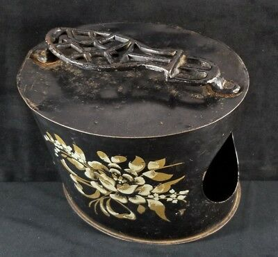Antique Oval Metal Shoe Shine Stand & Box w Stenciled Rose 10.2x8.5x7.2 FINE
