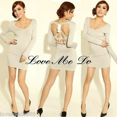 Sexy New WOMENS LOW CUT OUT CAGE OPEN BACK mini club dress GRAY Medium 8 L 10