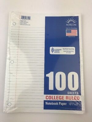 Filler Paper, College Ruled, Reinforced, Loose Leaf Paper, 100 Sheets/Pack