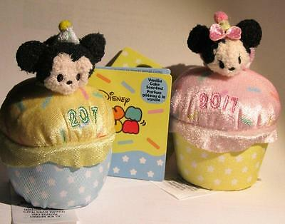 DISNEY STORE Birthday Minnie And Mickey 2017 Tsum Tsum Plush Mini 3