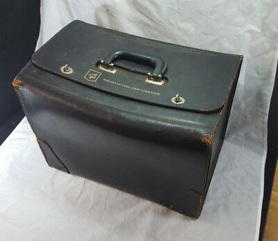 Vintage MICHELIN TIRE CORP Salesman sample leather bag case 1950s-60s? sign ad