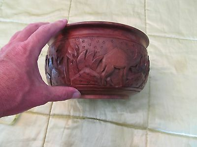 Carved Pattern Wood Bowl Camel Palm trees Oasis Egyptian Middle Eastern VGC