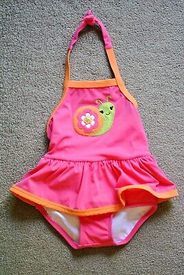 Gymboree Girls' Pink Snail One-Piece Skirted Sunscreen Swimsuit - Size 12-18M