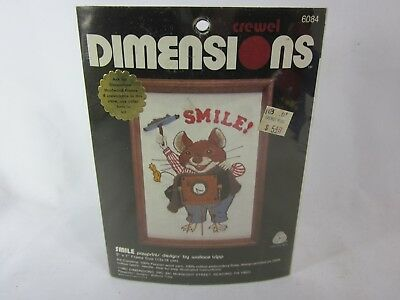 "1981 Dimensions Crewel Kit Smile Photographer Mouse Small 5x7"" Wallace Tripp"