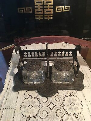 Antique Gothic Style Eastlake Cast Iron Inkwell Victorian Era. Quill and Opener