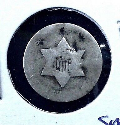 1851 to 1853 Three-cent SILVER Trime 3c SMALL star