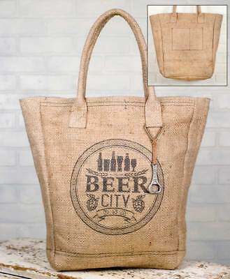 Beer City Market Tote Natural Burlap Travel Bag Micro Brewery Tour Carrier