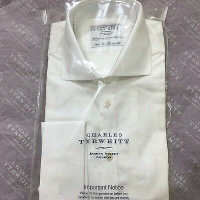 "Mens White Shirt CHARLES TYRWHITT 16"" 41cm NON IRON Tailored Fit Double Cuff"