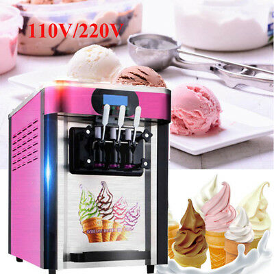 20L/H Frozen Soft Ice Cream Machine 3 Flavor Ice Cream Fruit Yogurt Making 110v
