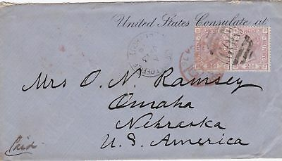 1876: letter British Post office Beyrout to US Consulate Nebraska
