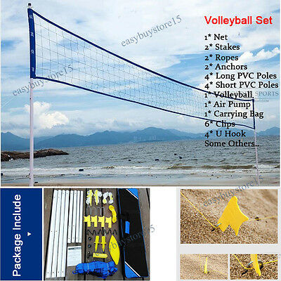 Portable Team Sports Set with Net Poles Ball & Accessories for Lawn Beach Club