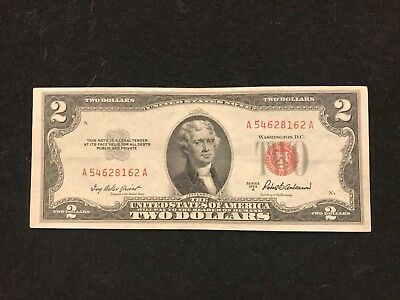 1953 A SERIES $2 RED SEAL Legal Tender UNITED STATES NOTE Paper Money A54 >Nice