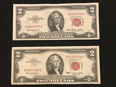 1953 & 1963 $2 RED SEAL Legal Tender UNITED STATES NOTE Paper Money  Nice Pair