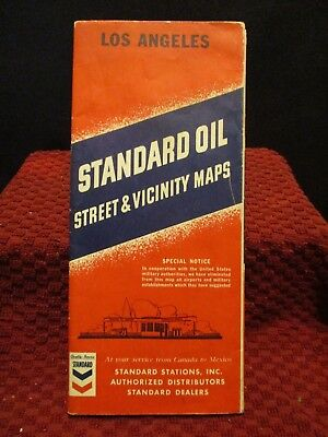 1940's Standard Oil Street And Vicinity Road Map. Los Angeles,ca. Complete.