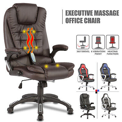 Ergonomic 6 Point Massage Racing Game Office Chair PU Leather w/ Remote Control