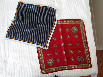 Porter Silk Red Navy Blue Paisley lot Hankies Abstract pocket squares yellow