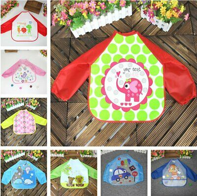 Baby Long Sleeve Bibs Bib Apron Waterproof Art Smock Feeding Toddler Children KU