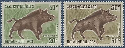 LAOS N°220/221*  Animaux sauvages, Sus Vittadus, TB, 1970 Laos animals set MH