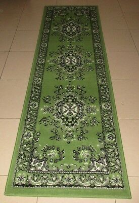 New Green Persian Traditional Design Floor Hallway Runner Rug 67X230Cm