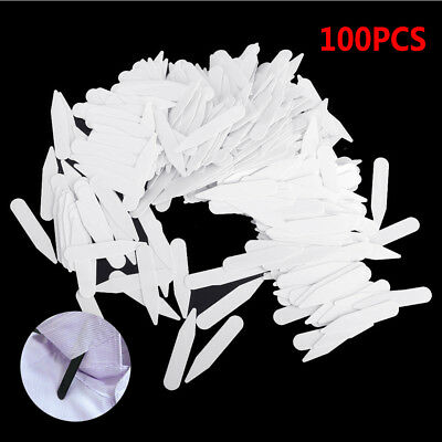 100X Plastic White Collar Stays Bone Different 4 Sizes Inserts For Men's Shirt