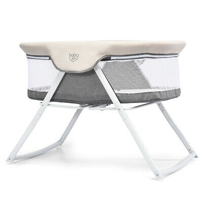 Foldaway Baby Bassinet Crib Newborn Rocking Sleeper Traveler Portable w Bag Gray