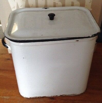 Vintage 1940's Shabby Chic Country Cottage Enamel Bread Bin