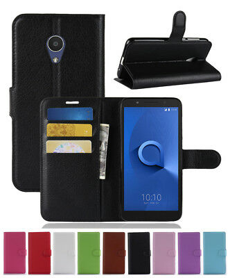 Retro Magnetic PU Leather Slot Wallet Cover Stand Flip Case for ALCATEL 1X 5059D