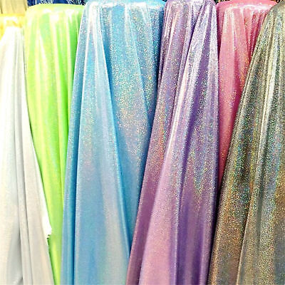 Hologram Shiny Foil Fabric Metallic Holographic Iridescent Material By Metre