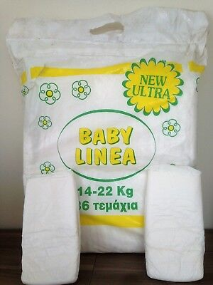 Vintage 'Baby Linea' Greek made 2x Maxi Plus plastic diapers 14-22 kg (31-48lbs)