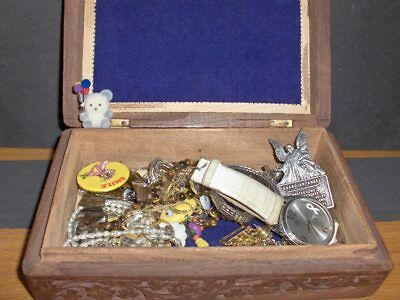 Vintage Jewelry LOT Estate - Jewelry Box-WOMENS NECKLACES, WATCH, PINS,  #-9