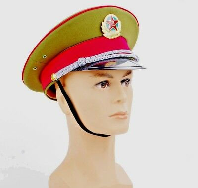 59cm Military officer Captain's Visor Hat Chinese Communist Army Cap with badge