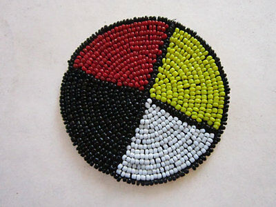"""3"""" Glass Beaded 4 Direction Medicine Wheel  Rosettes Crafts  Pow Wow"""