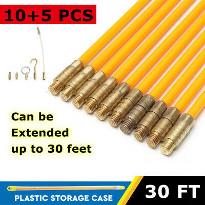 10pcs 30FT Fiberglass Cable Running Wire Coaxial Electrical Fish Tape Rods Kit