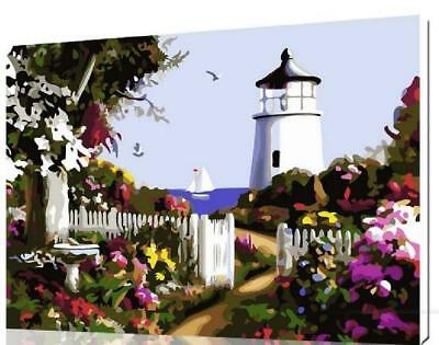 """Lighthouse and Gardens DIY Paint By Number 16*20"""" kit Oil Painting On Canvas"""