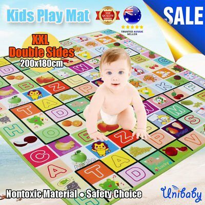 OZ 2mx1.8m XXL Nontoxic Baby Kids Play Mat Floor Rug Picnic Cushion Crawling Mat