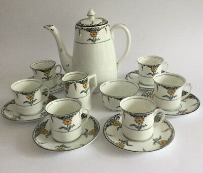 Vintage Windsor China (Cws) Floral 15 Pc Coffee Set Hand Painted