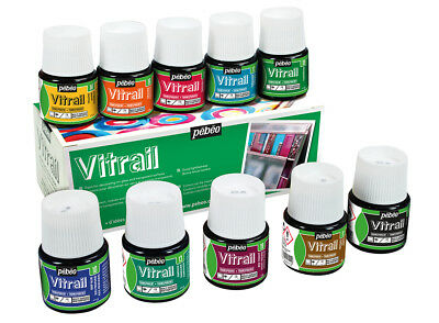 Pebeo Vitrail Glass & Mixed Media Paint Assorted Colours 10 x 45ml Box Set