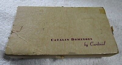Vintage Black Catalin DOMINOES by Cardinal Double Six No. 500