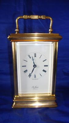 Superb St James London Brass 8 Day Gorge Shape Carriage Clock inc Key (working)