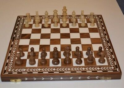 Chess Board Brown And Fawn (Wooden/Acrylic Inlay Chess Board)