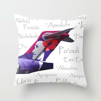 "Hawaiian 717 Tail with Aircraft Names - Throw Pillow (16"" x 16"")"