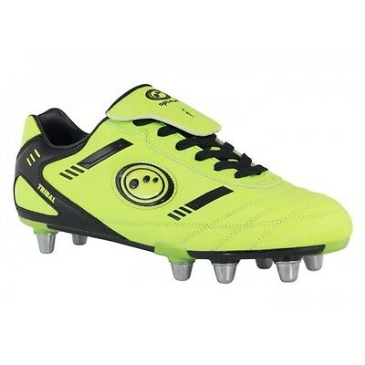 23.99 NEW  yellow Optimum SIZE 10 New TRIBAL Rugby Boot 8 Studs Laced FREEPOST