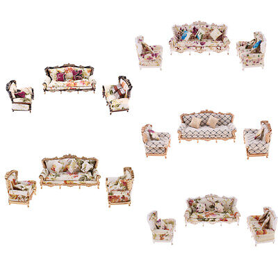 1/25 Scale Miniature Sofa Couch w/ Pillow for Lovely Doll House Living Room