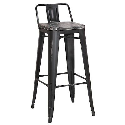 30 Inch Metal Bar Stool With Low Back Set Of 2 Black With Black