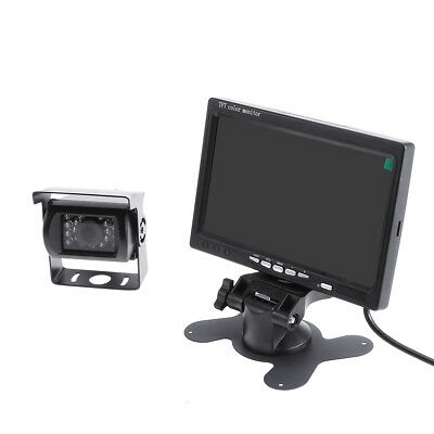 "IR LED sans fil Caméra de recul + 7"" LCD Moniteur Car Rear View Kit Bus Truck FR"