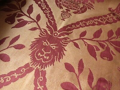 LIONS & BIRDS Antique 19th Century French Silk Damask Curtains Drapes Valance