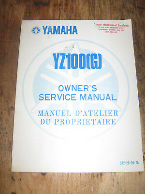 Yamaha Yz 100 (G) Owners Service Manual English And French 3R2-28199-70